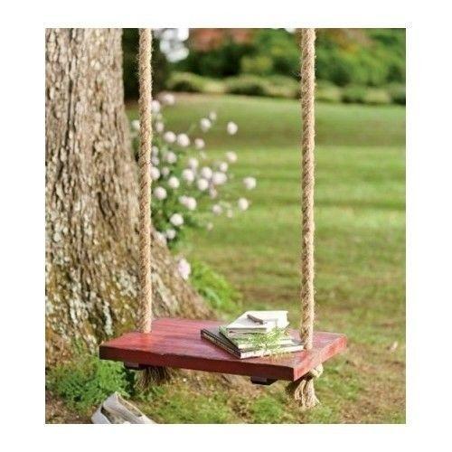 Rope Tree Swing Vintage Oversize Wood Seat Hang Twine Play