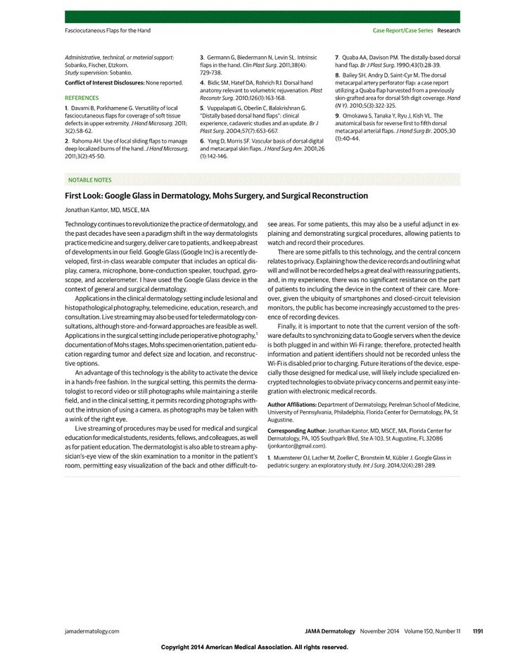 JAMA Network JAMA Dermatology First Look Google Glass in - case report template
