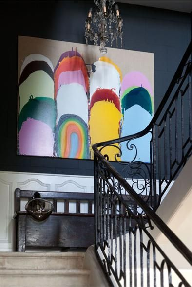 staircase landing - one of my favorite spots to display art home interior painting