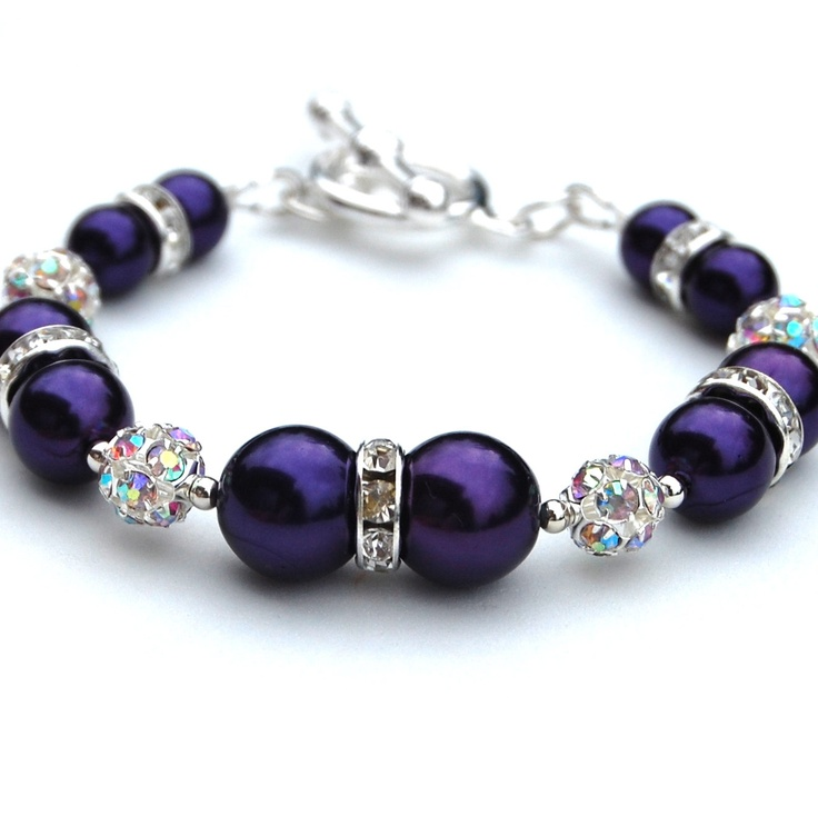 Bridesmaid Jewelry Royal Purple Bling Pearl Bracelet by AMIdesigns