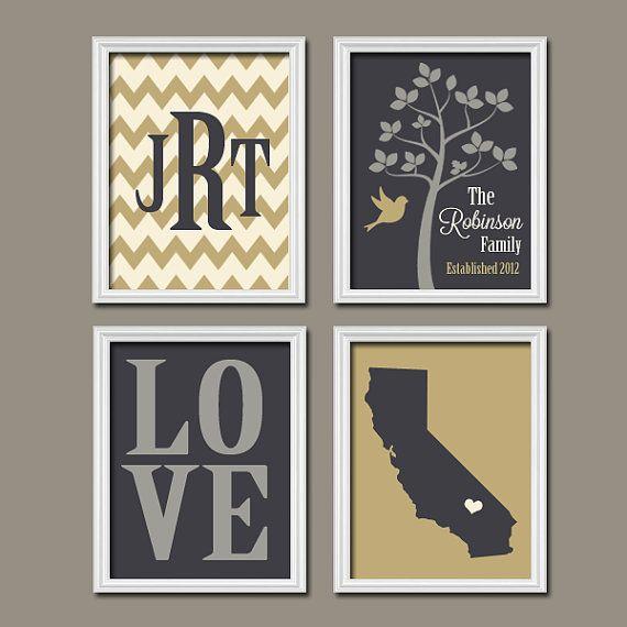 Custom Family Chevron Monogram Initial State LOVE Bird Tree Established Date Print Artwork Set of 4 Prints Wall Decor Art Wedding