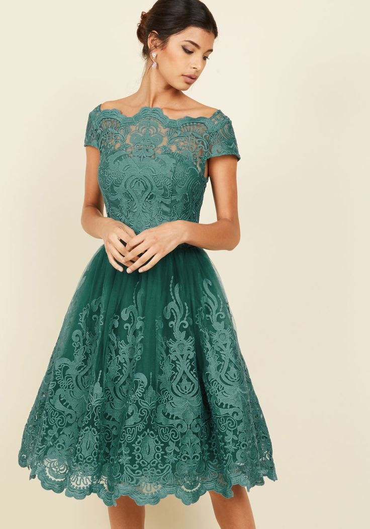 Exquisite Elegance Lace Dress in Lake - Green, Solid, Embroidery, Party, Cocktail, Holiday Party, Wedding Guest, Vintage Inspired, 50s, Fit & Flare, Cap Sleeves, Fall, Winter, Knee, Woven, Exceptional, Scoop