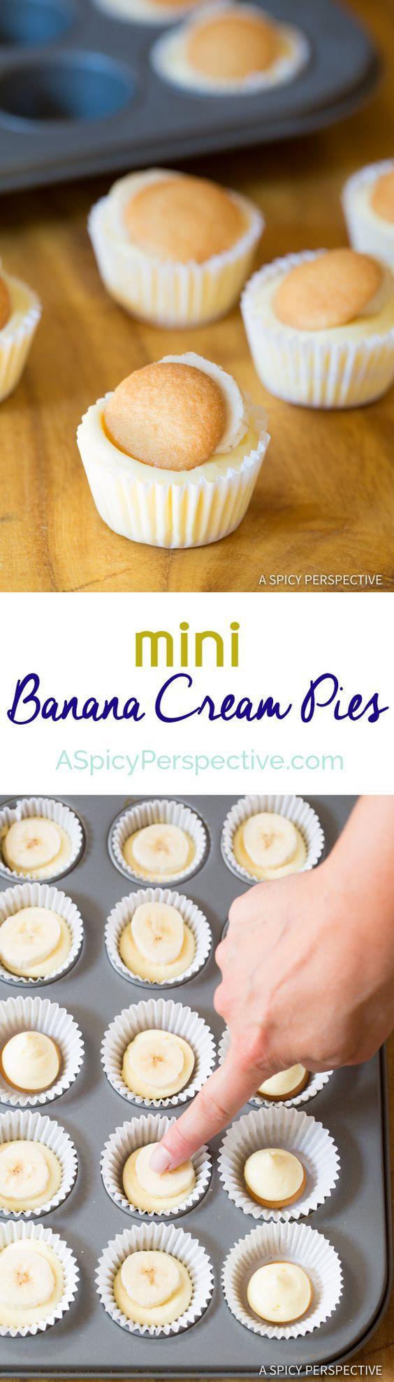 Fun to Make 6-Ingredient Mini Banana Cream Pie Recipe (Banana Pudding Tarts) on ASpicyPerspective...
