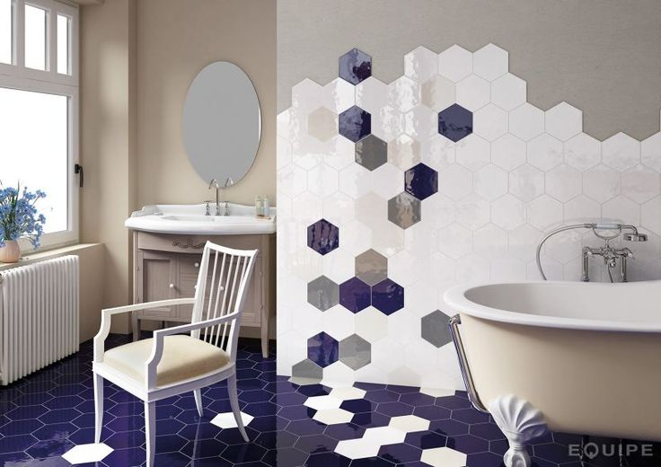 Hexatile Blanco Brillo 17,5x20 - Carrelage imitation carreaux de ciment, grès Cérame