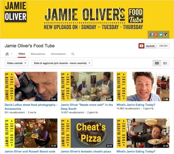 JamieOliver è semplicissimo eppure non mancano le informazioni. Il channel art e le anteprime sono integrate così bene che il canale sembra veramente un mini sito. http://www.tuttosuyoutube.it/nuovo-canale-di-youtube-creare-la-grafica-per-lheader/ #youtube #youtubemarketing #video #graphics #design #ispiration #videomarketing