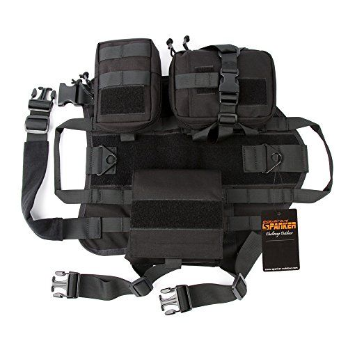 Graycell Tactical Dog Molle Vest with Pouches Military Harness for Service K9 Dogs BLK L >>> Read more at the image link. (This is an affiliate link) #DogHarnesses