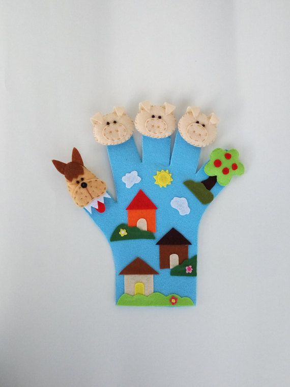 Three Little Pigs finger puppet hand puppet by MomsMagicHands