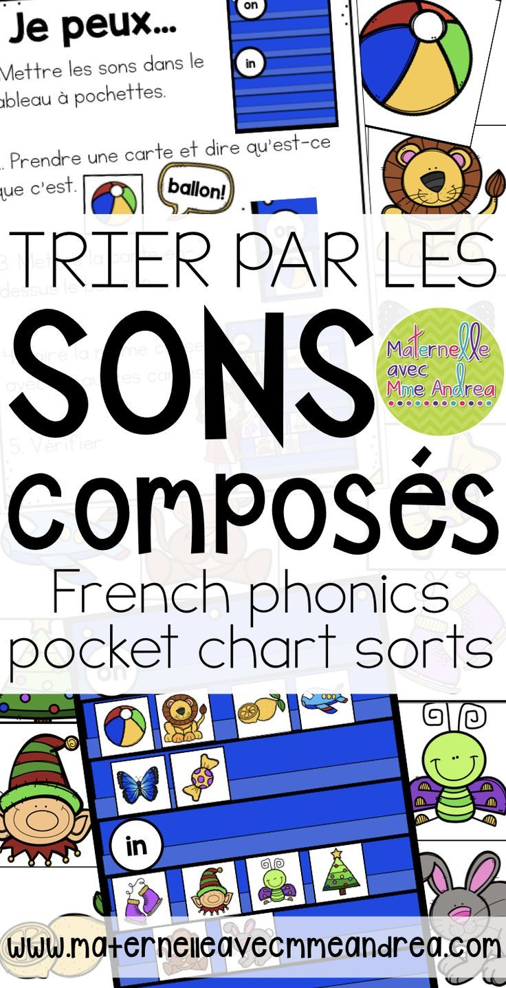 FRENCH Phonics pocket chart sorts - Trier par les sons composés - perfect for helping your students listen and identify les sons composés within words!