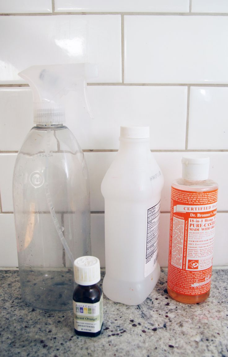 Here's what you will need:   1 empty spray bottle 1/3 cup rubbing alcohol 3-4 drops Dr. Bronner's Soap 10 drops essential oil 3 cups water Mix all of the ingredients together in the spray bottle and you are ready to clean! How is that for a DIY granite cleaner that is all natural?  I used orange scented Dr. Bronner's soap and orange essential oil. It smells so fresh when I clean! I'm a big fan of saving money by mixing up my own cleaning products. Check out my homemade wood floor cleaner…