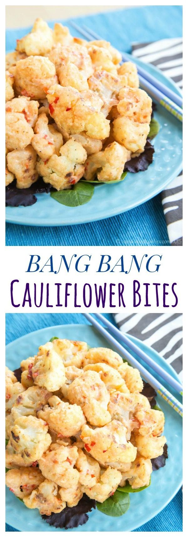 Bang Bang Cauliflower Bites - a veggie version of a restaurant copycat recipe, these sweet and spicy Asian-inspired bites are an addictive appetizer or vegetable side dish. | cupcakesandkalechips.com | gluten free, vegetarian recipe