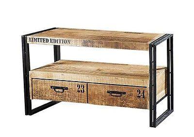 Vintage TV Lowboard IOWA | TV Möbel Retro Look | Massivholz Möbel Holz TV Board