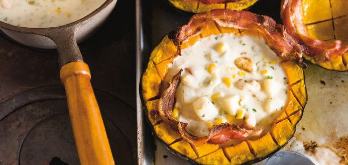 Chaudrée de poulet et de maïs en courge Buttercup Recettes | Ricardo