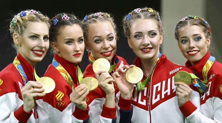 rhythmic gymnastics team russia olympics 2016 Ryssland vann guldet i rytmisk gymnastik lag 36.233, silver Spanien 35.766, brons Bulgarien 35.766.