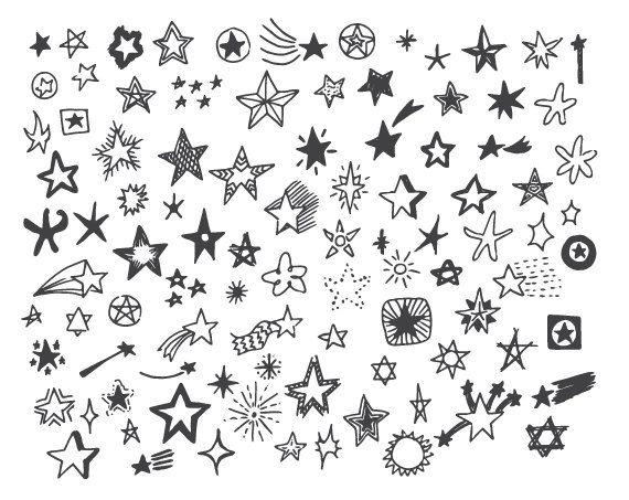 Hand Drawn Doodle Stars Scrapbook Clipart, Stars Photoshop