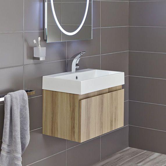 Mino 600 and drawer unit basin - oak | bathstore