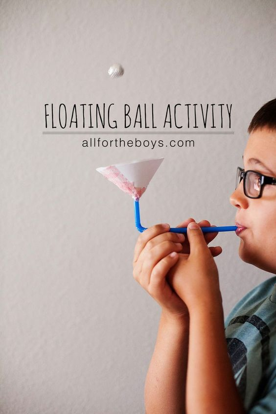 Floating ball activity - great for kids who need to take deep breaths.  This would make a fun science activity as well as a great way to work on those oral-motor muscles and sensory needs.  Get all the directions at:  http://allfortheboys.com/home/2014/06/26/floating-ball-activity.html