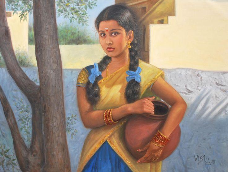 Tamil Girls Painting - Tamil Girl With Pot by Vishalandra Dakur