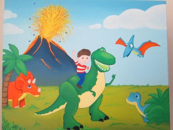 Dinosaurs Custom Acrylic Painting, 20''x16''.