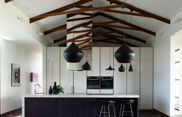 queenscliffe_residence_12. scissor trusses, spotted gum, fjord moroso, tom dixon, minett studio, house and garden