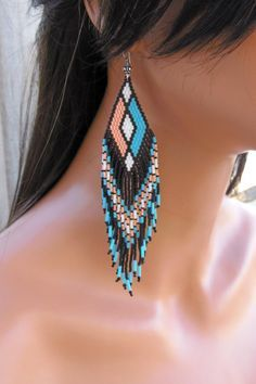 Turquoise Peach White and Black Extra Long by CreationsbyWhiteWolf