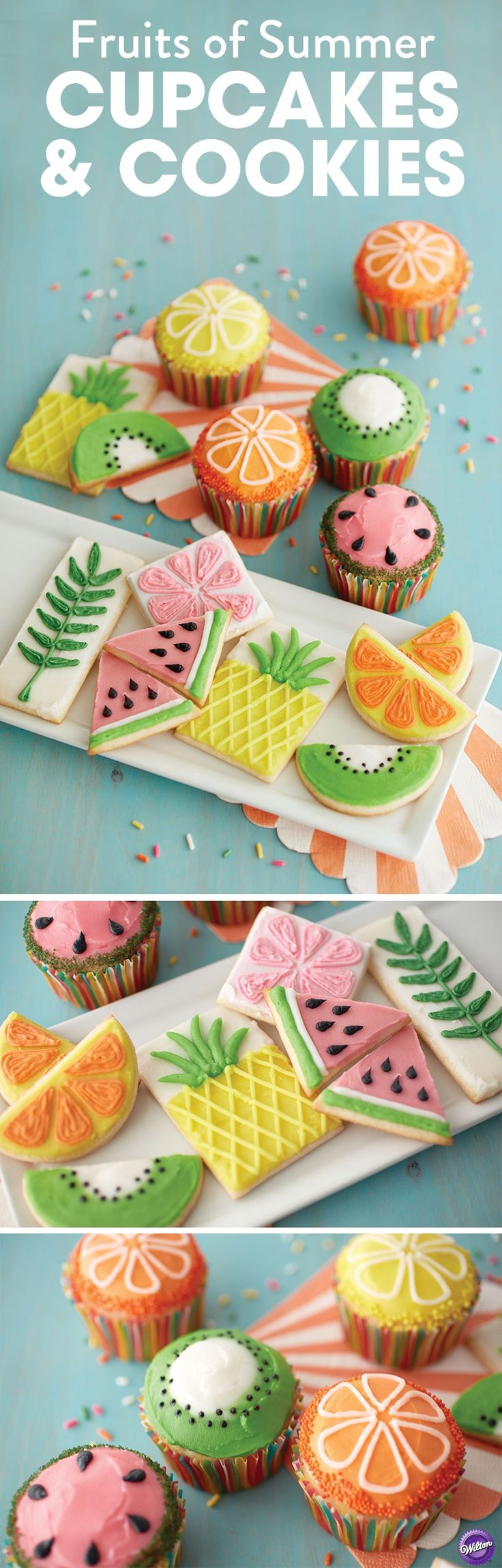 Make the fruits of summer as your inspiration to decorate cupcakes and cookies! Use the Wilton icing pouches for quick decorating. These tasty treats are great for your summer themed celebrations!