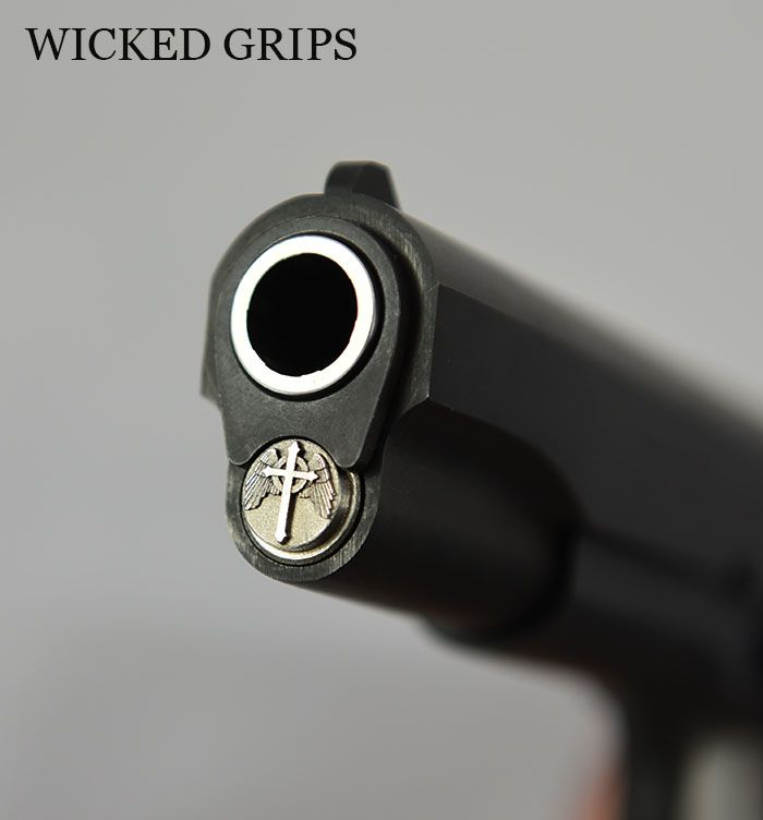1911 WINGED CROSS SPRING PLUG STAINLESS 3D SERIES fits many models of 1911 pistols including Colt, Kimber, Wilson, Rock Island and Springfield armory