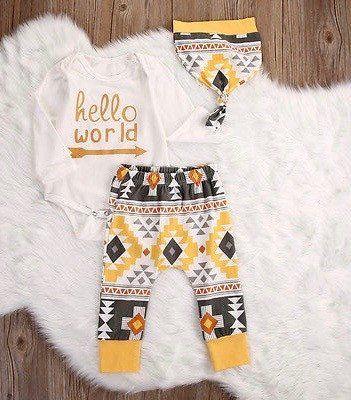 Hello World Aztec Three Piece Clothing Set For Newborn Baby Toddler