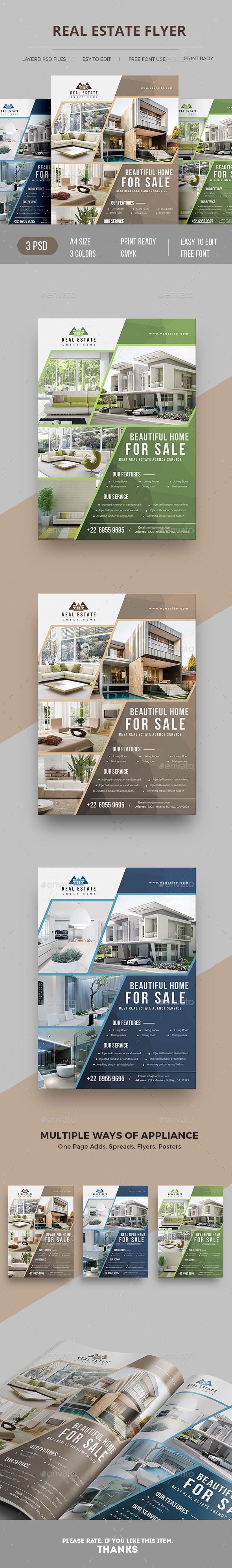 #Real Estate #Flyer - Commerce Flyers Download here: https://graphicriver.net/item/real-estate-flyer/19738534?ref=alena994