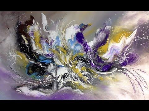 Abstract acrylic painting - Démonstration peinture abstraite (8) Althea - YouTube