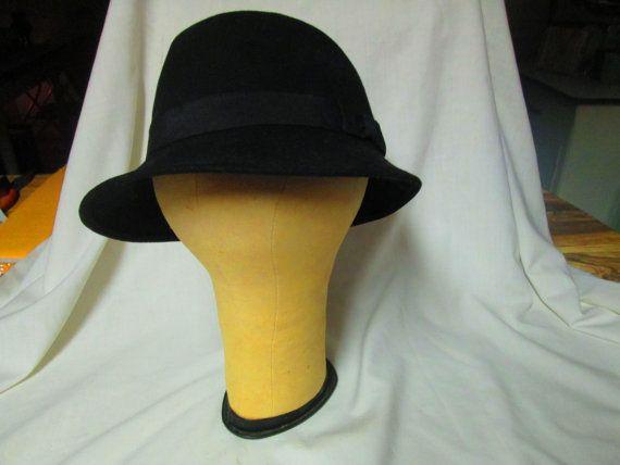 Women's Vintage Black Wool Fedora Hat Gross by CarolsTrueVintage