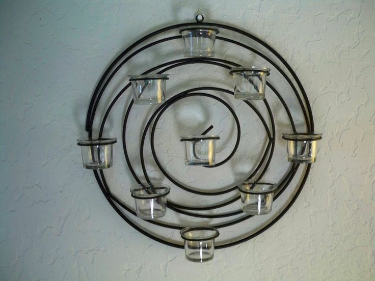 Black Wrought Iron Spiral Wall Decor With 9 Glass Votive