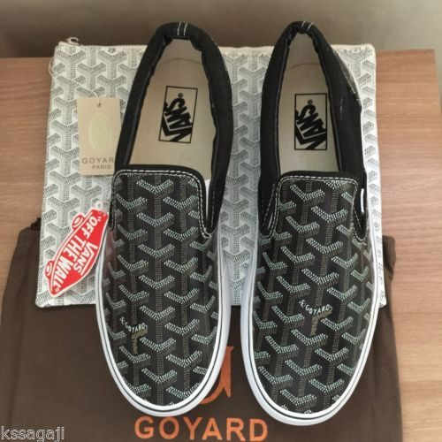 gucci vans custom. new vans x goyard custom made slip-on black christpher wanton style rare gucci