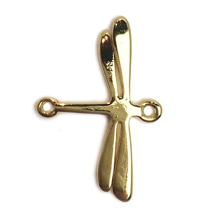 Dragonfly charm goldplated Libelle verguld bedel