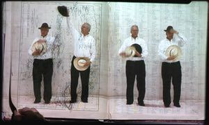 Kentridge is pictured in his collaborative video projection The Refusal of Time (2012).