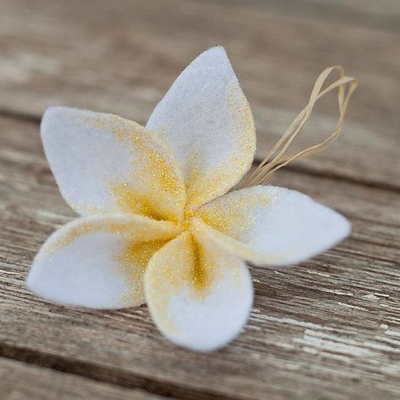 Hawaiian plumeria ornament by MakamaeOMolokai on Etsy