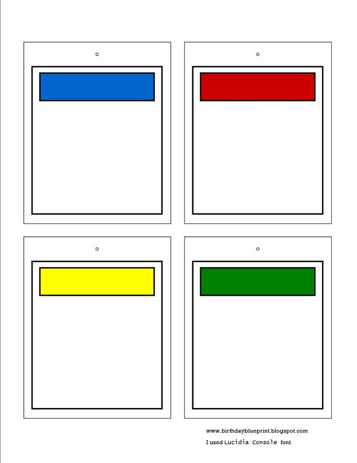 Blank Monopoly Property Cards. To write in the bible memory verse kids can collect the cards. Make a banner to look like a playing board