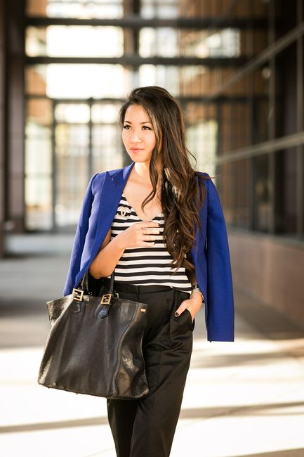 Downtown Culottes :: Relaxed pants & Cobalt blazer : Wendy's Lookbook