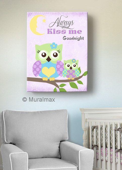 Owl Decor Girls wall art  OWL canvas art Baby Nursery by MuralMAX, #Owlnursery #PurpleNursery #NurseryDdecor
