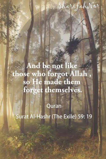 """""""And be not like those who forgot Allah, so He made them forget themselves."""" - Quran 59:16"""