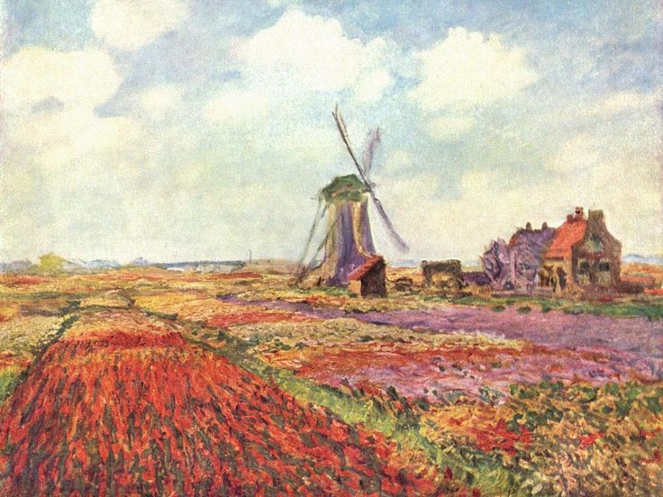 Oscar-Claude Monet (14 November 1840 – 5 December 1926) Tulip Fields with the Rijnsburg Windmill, 1886