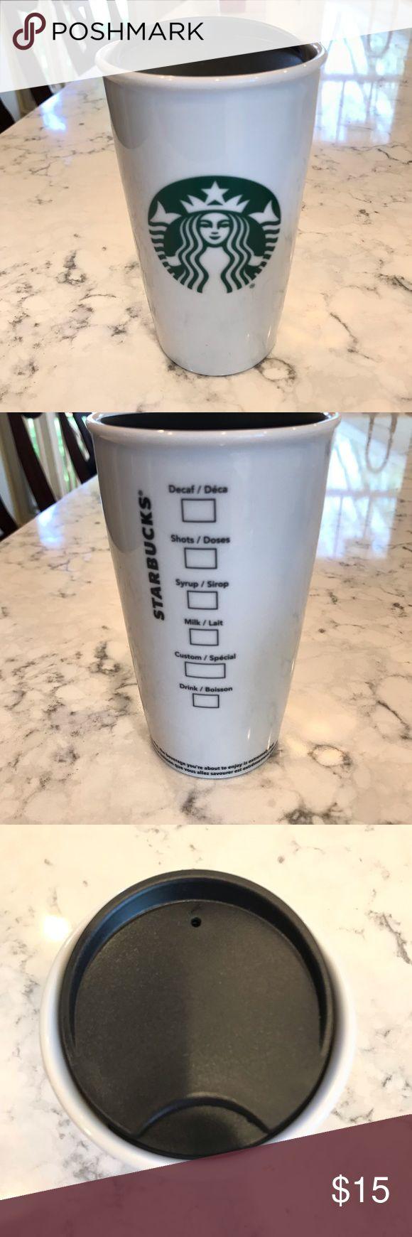 Starbucks Coffee Travel Mug With Lid 12 oz White