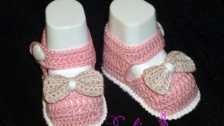 Пинетки туфельки крючком для принцессы Часть 2. Вязание для начинающих. Baby booties, crochet DIY