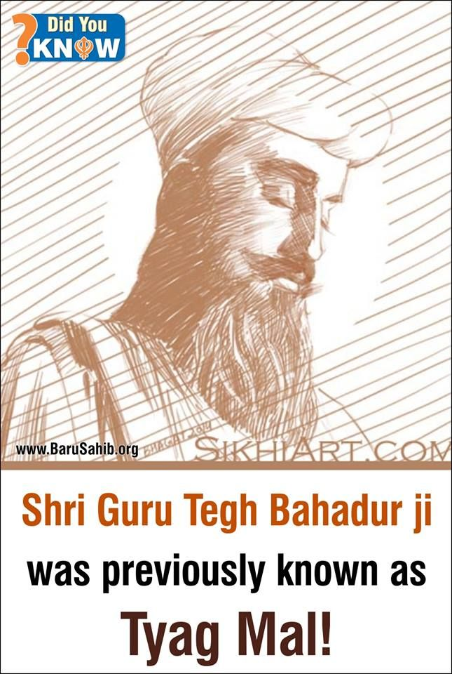 #SikhArt Shri Guru Tegh Bahadur ji was previously known as Tyag Mal! Hind di chadar Shri Guru Tegh Bahadur ji was previously known as Tyag Mal. However upon displaying martial prowess on the battlefield, came to be known as Tegh Bahadur, at young age. Later he resigned to small house in Bakala, where he meditated until he was discovered by Makhan Shah, and took the Gurgaddi after Guru Hari krishan ji. Courtesy- SikhiArt