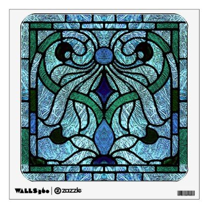 Stained Glass Victorian Design in Blue and Green Wall Sticker - walldecals home decor cyo custom wall decals