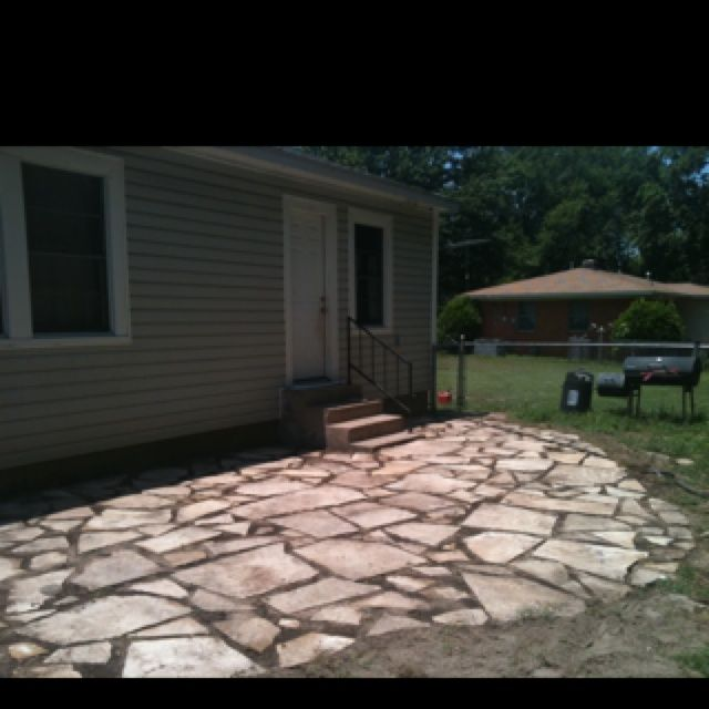 Our Broken Concrete Patio Is In Progress! Now We Just Have To Let It Settle  Then Add Polymeric Sand In The Joints.