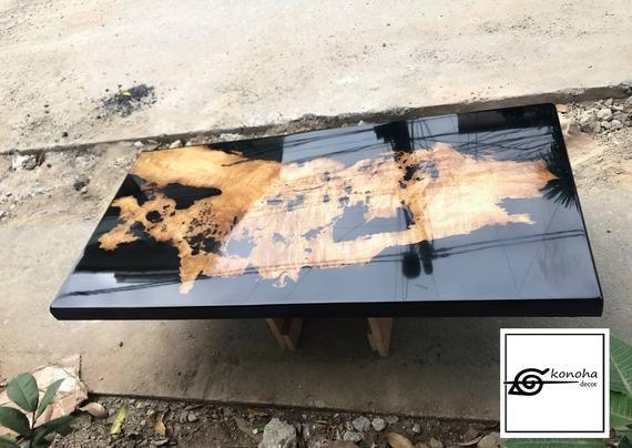 Mesa de centro – Mesa epoxi negra – mesa de resina, mesa de centro de río