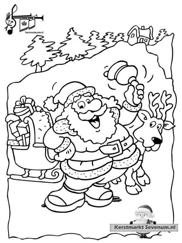 Kleurplaat Kerst Bel Kerstman Winter Kleurplaten Pinterest