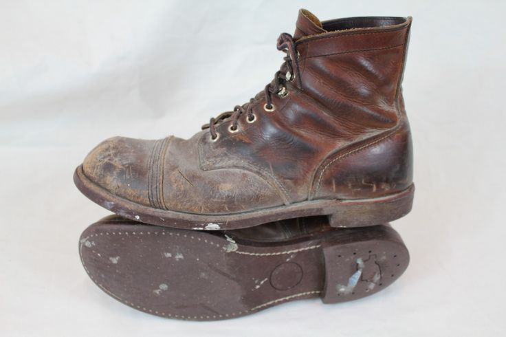 Red Wing- Iron Worker's work boots.   Great image of wear and distressing