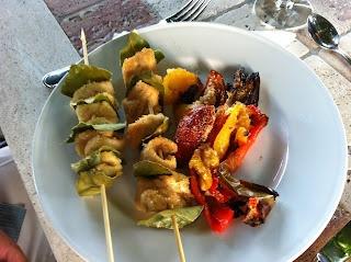 Spiedini di Pollo all'olio di Oliva (Carne or Secondi Course)  Chicken Skewers with Olive Oil and  Verdure alla Griglia (Contorni/Vegetable Course)  Grilled Vegetables