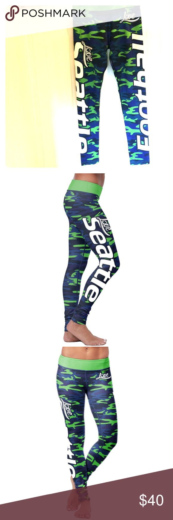 """Seattle Football Camo Legging. Super comfortable. Green,Blue Camo and I only worn it once. The waist: 33-34"""" Hip:42-44"""" Inseam:29"""" XLUSION Pants Leggings"""